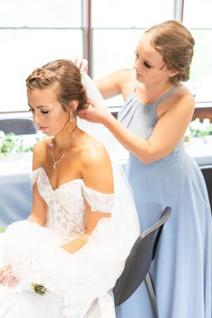 Bride and Bridesmaids getting ready light blue dresses Saint Patricks Park South Bend Indiana