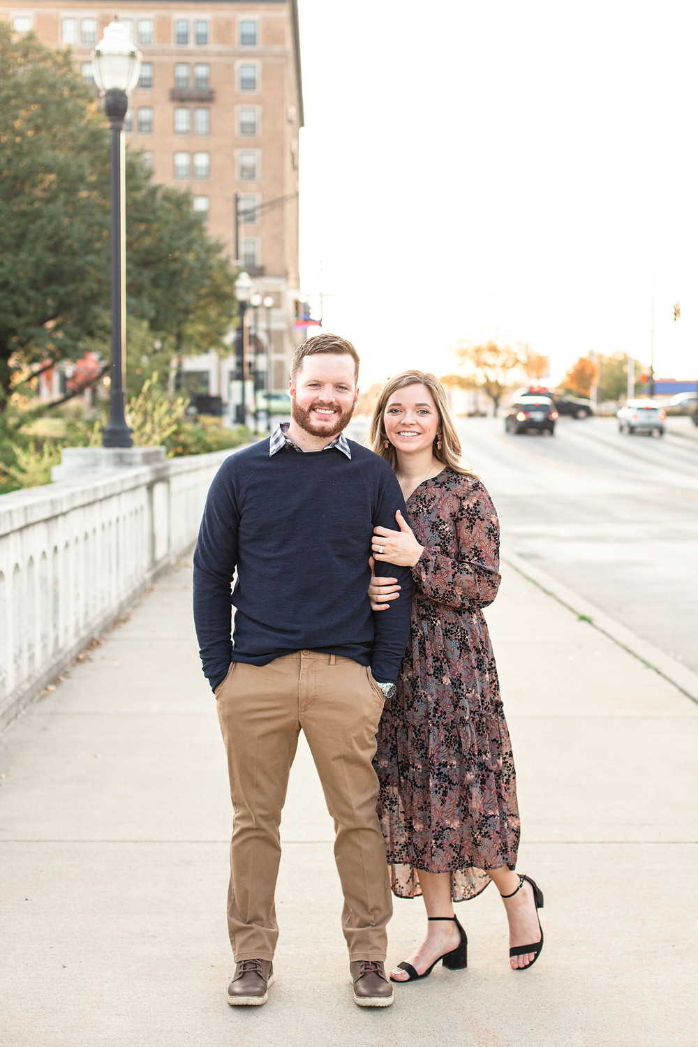 Josh and Andrea photography engagement photos south bend Indiana cute couple smiling standing