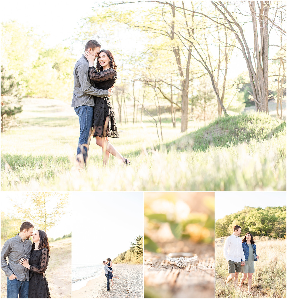 Josh and Andrea wedding photography husband and wife photographer team michigan pictures Lake Harbor Park engagement pictures session photo shoot fiance kissing beach ring shot