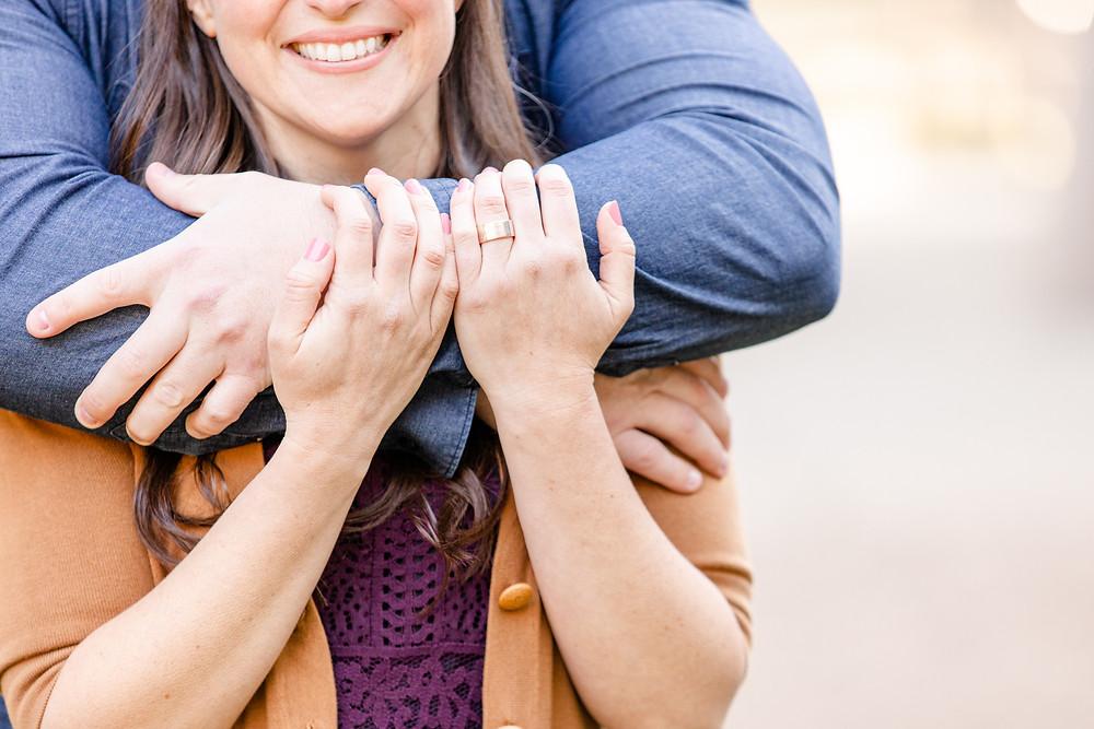 Engagement Photos Van Buren State Park Couple Hugging Engagement Ring Hand