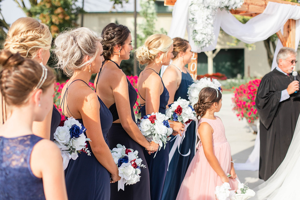 bridesmaids watching wedding American 1 event center Jackson michigan