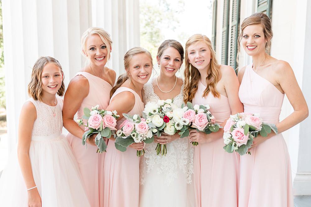 Bride and Bridesmaids blush pink dresses Rose Hill Antebellum Lockerly Arboretum Milledgeville Georgia Wedding