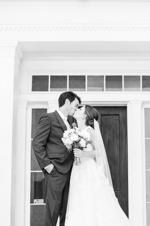 Bride and Groom kissing Rose Hill Antebellum Lockerly Arboretum Milledgeville Georgia
