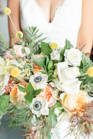 bouquet bride and groom indoor ceremony in the details byron center truer design