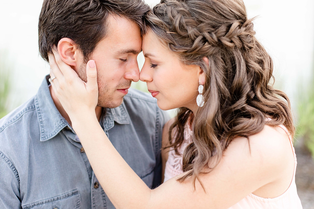 engagement photos cute couple forehead to forehead