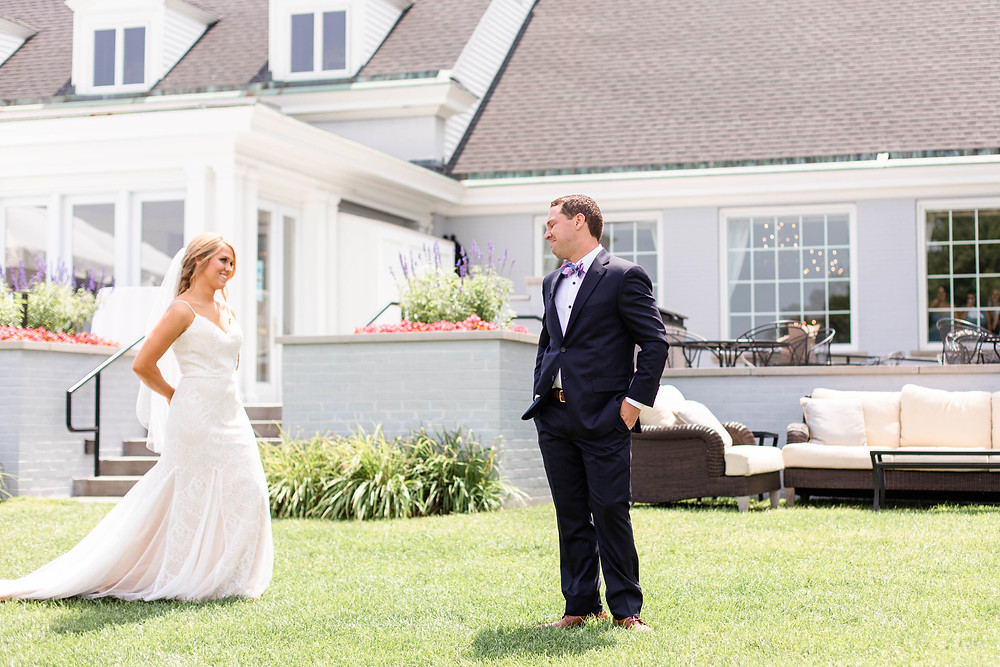 bride and groom first look Kent Country Club Wedding Grand Rapids