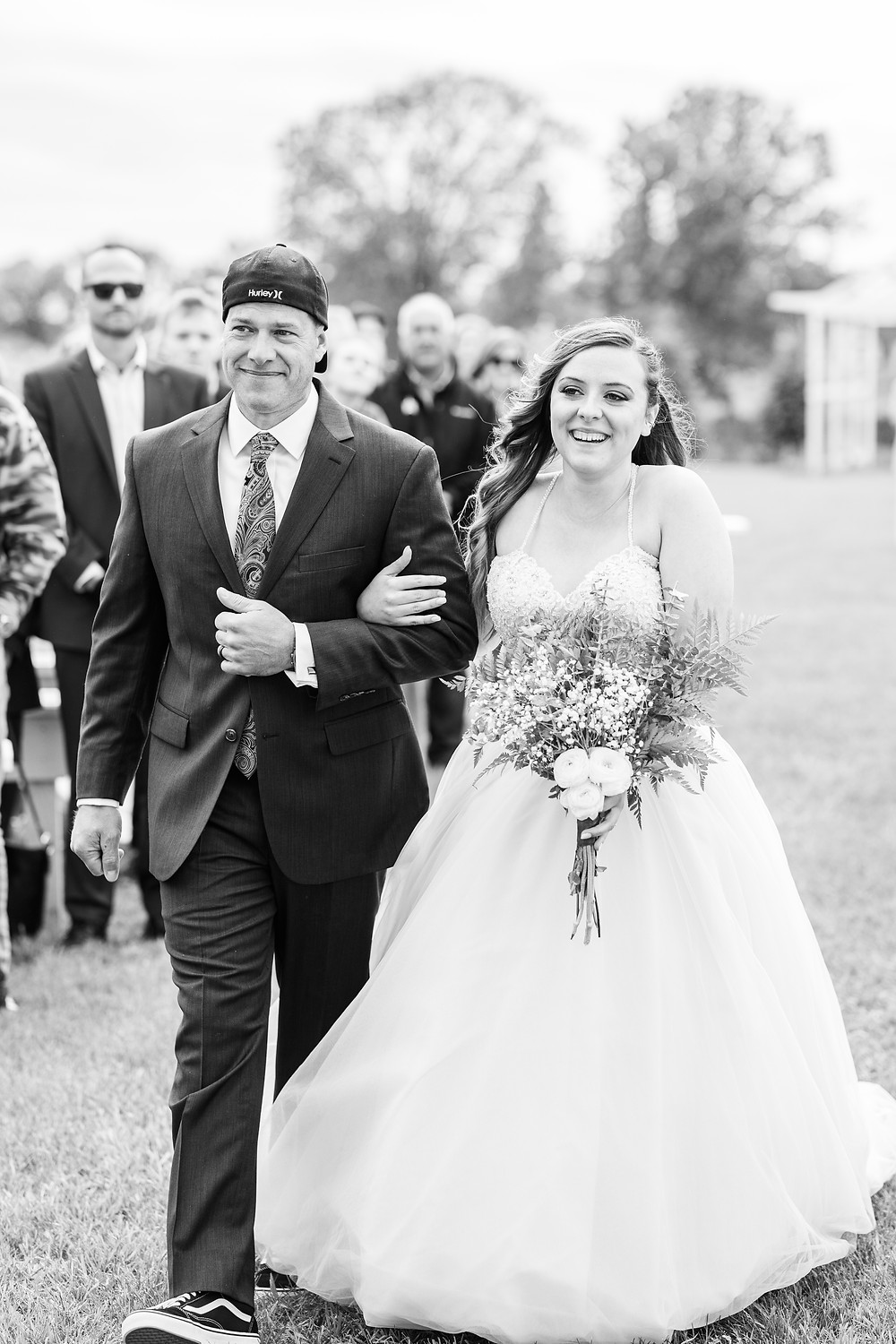 Josh and Andrea wedding photography husband and wife photographer team michigan pictures hydrangea blu barn bride and father of bride