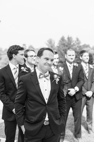 groom seeing bride walk down aisle ceremony Kent Country Club Wedding Grand Rapids