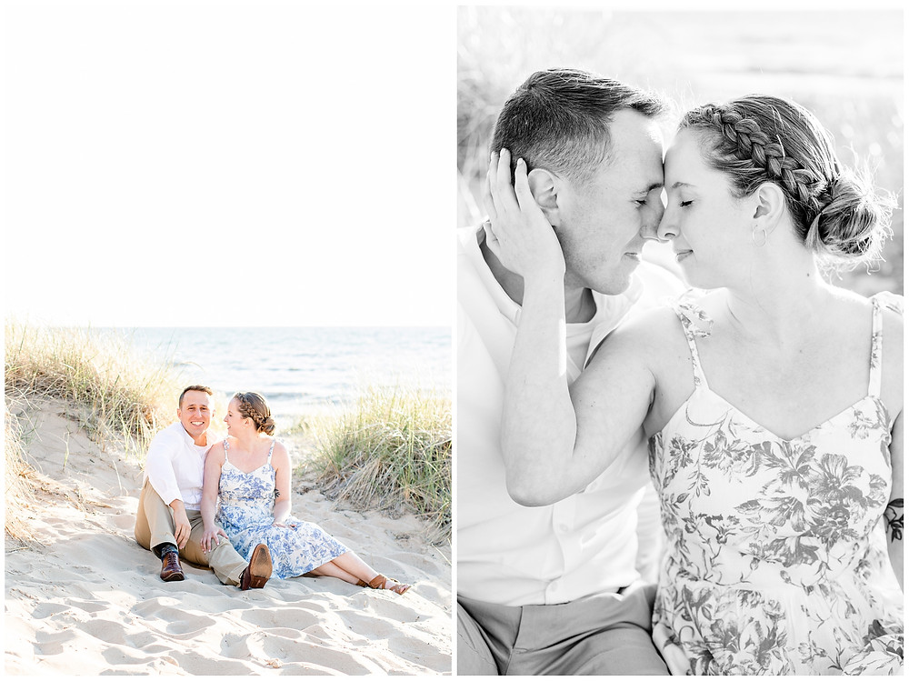 Josh and Andrea wedding photography husband and wife photographer team michigan pictures south haven engagement pictures session beach photo shoot fiance sitting