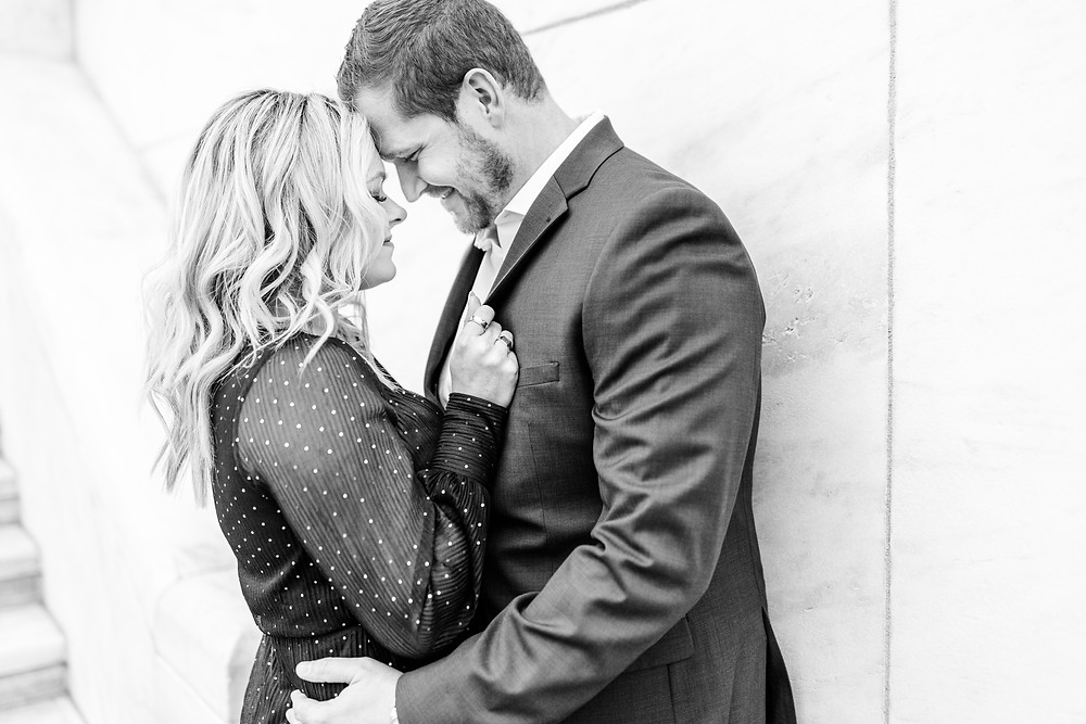 Josh and Andrea wedding photography husband and wife photographer team michigan engagement session photo shoot fiance detroit snuggle
