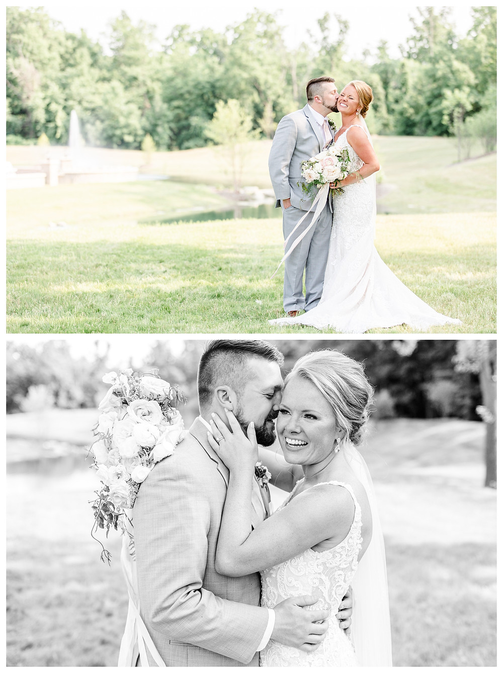 Josh and Andrea light airy joyful style wedding photography husband and wife photographer team michigan pictures photo shoot poses spring bride and groom White Oak Farm Venue