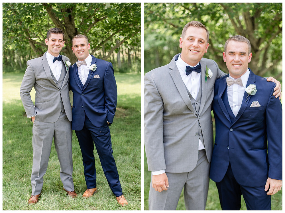 Josh and Andrea wedding photography husband and wife photographer team michigan pictures photo shoot Vineyard at 12 corners spring groom groomsmen