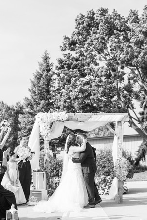 Bride and groom first kiss cute couple wedding American 1 event center Jackson michigan
