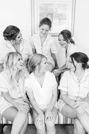 bride and bridesmaids pjs laughing Kent Country Club Wedding Grand Rapids