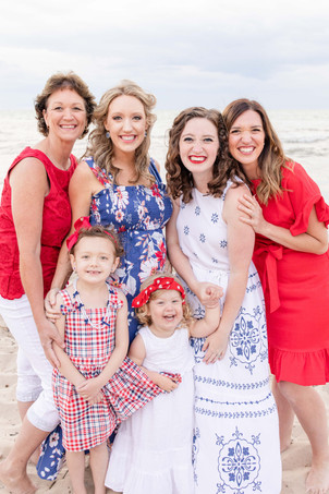 South Haven Family Shoot Moms and daughters on the beach Lake Michigan Red White and Blue Outfits
