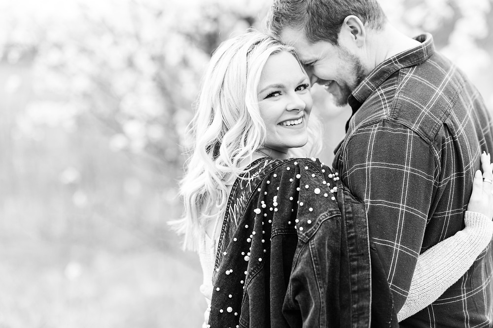 Josh and Andrea wedding photography husband and wife photographer team michigan engagement session photo shoot fiance woods forest detroit