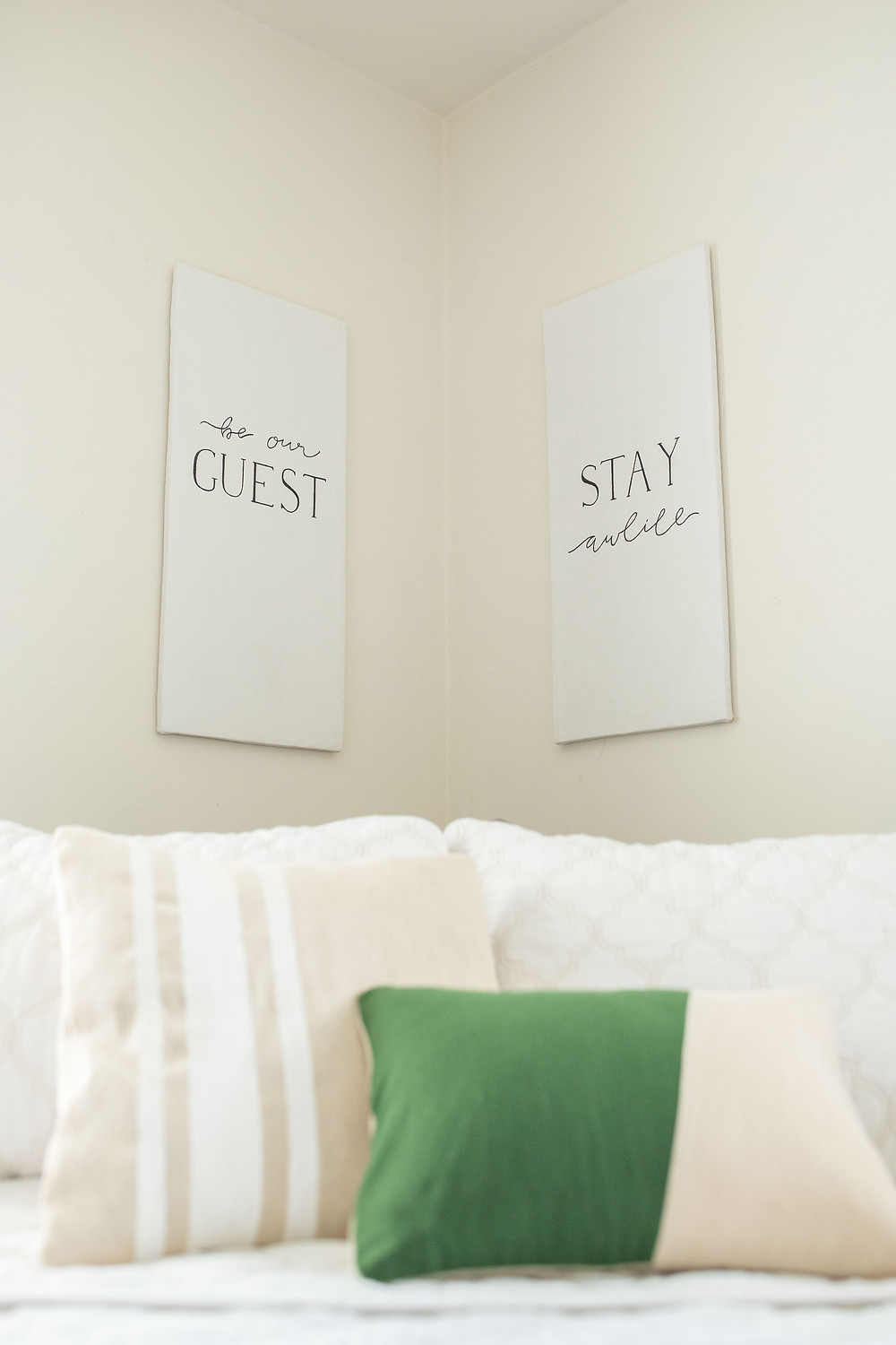 Home bedroom decorations with green accents and white signs