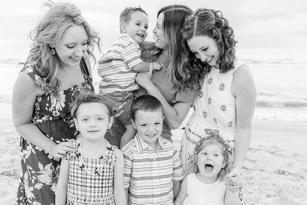 South Haven Family Shoot Moms and children laughing on the beach Lake Michigan