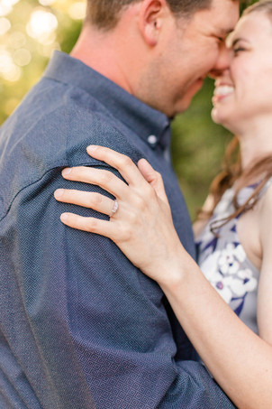 engagement ring engaged couple standing Something Blue Berry Farm Wedding Venue