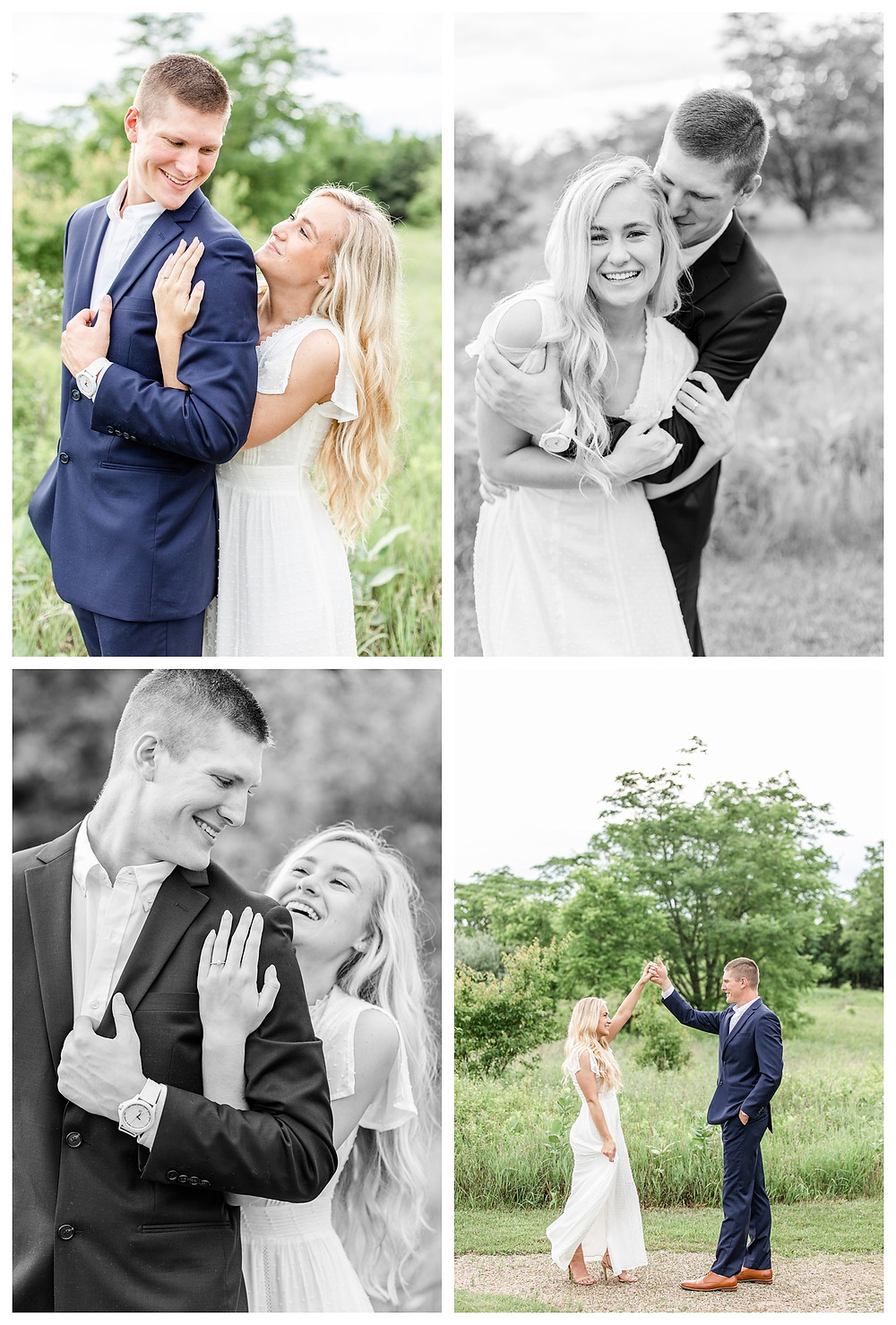 Josh and Andrea wedding photography husband and wife photographer team michigan pictures photo shoot hager park engagement pictures session photo shoot fiance grand rapids laughing dancing