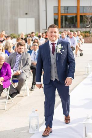 groom walking down aisle wedding American 1 event center Jackson michigan
