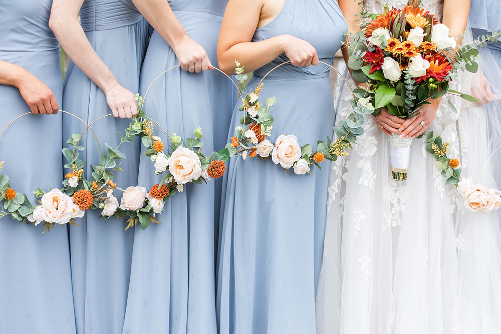 Bride and Bridesmaids Bridal bouquet fall colors  hoop ring bouquets Saint Patricks Park South Bend Indiana