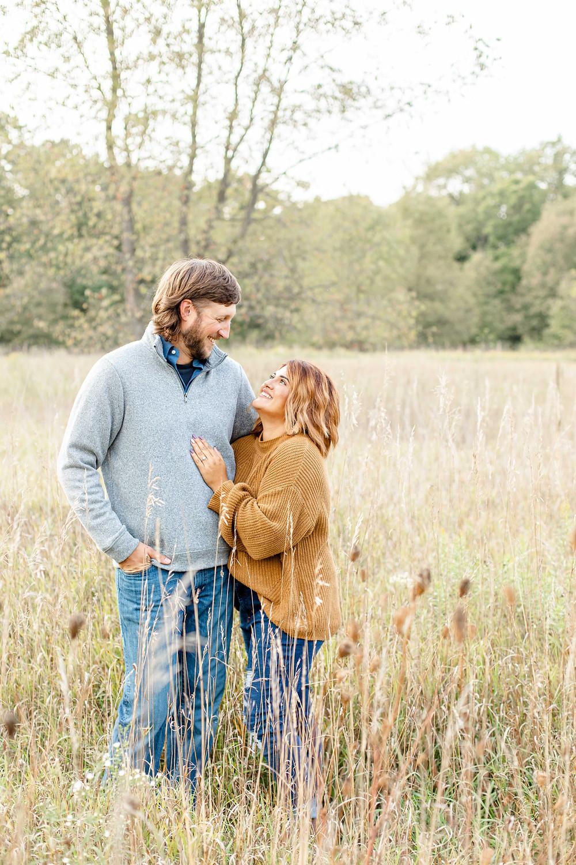 Engagement Photos Al Sabo Land Preserve Kalamazoo Michigan Open Field cute couple