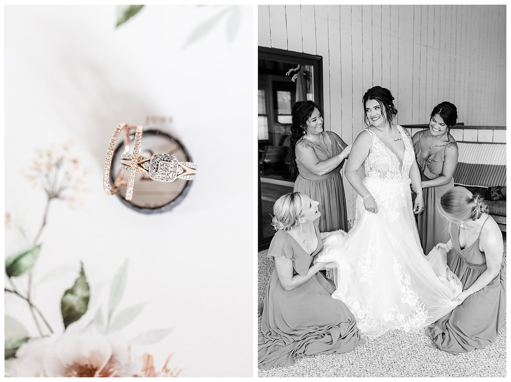 Josh and Andrea wedding photography husband and wife photographer team michigan pictures photo shoot farm barn spring bride and groom farm barn ring shots bridesmaids