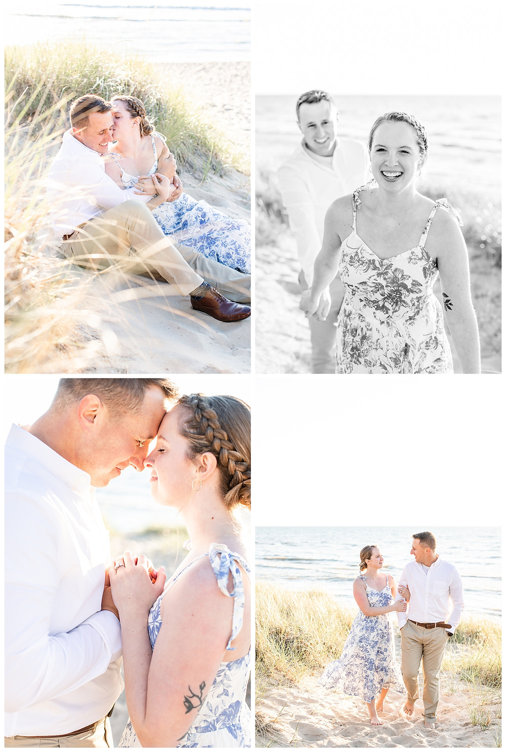 Josh and Andrea wedding photography husband and wife photographer team michigan pictures south haven engagement pictures session beach photo shoot fiance sitting walking