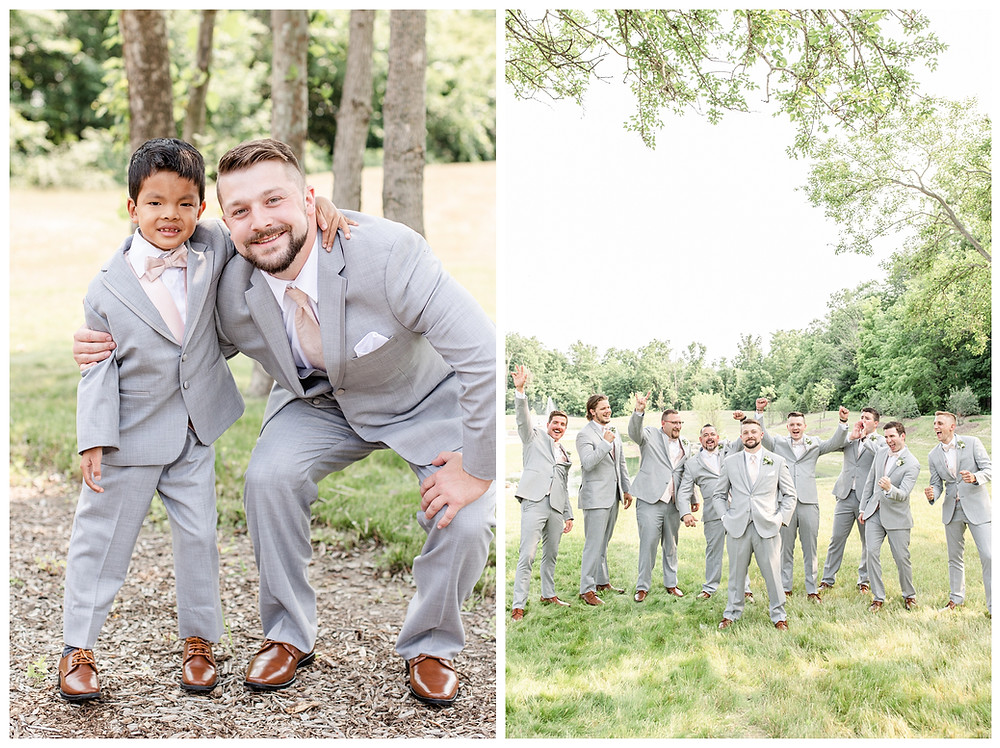 Josh and Andrea light airy joyful style wedding photography husband and wife photographer team michigan pictures photo shoot poses spring bride and groom White Oak Farm Venue groomsmen