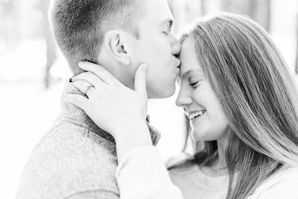 Josh and Andrea wedding photography husband and wife team michigan engagement session Al sabo land preserve couple kissing in snowy woods