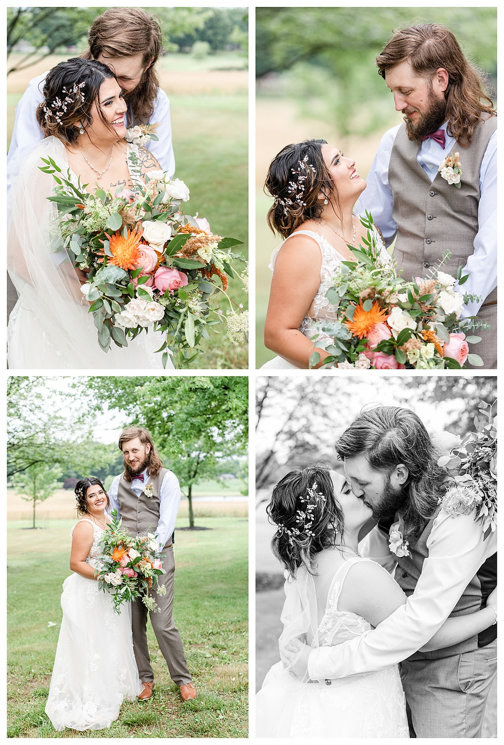Josh and Andrea wedding photography husband and wife photographer team michigan pictures photo shoot farm barn spring bride and groom farm barn kissing