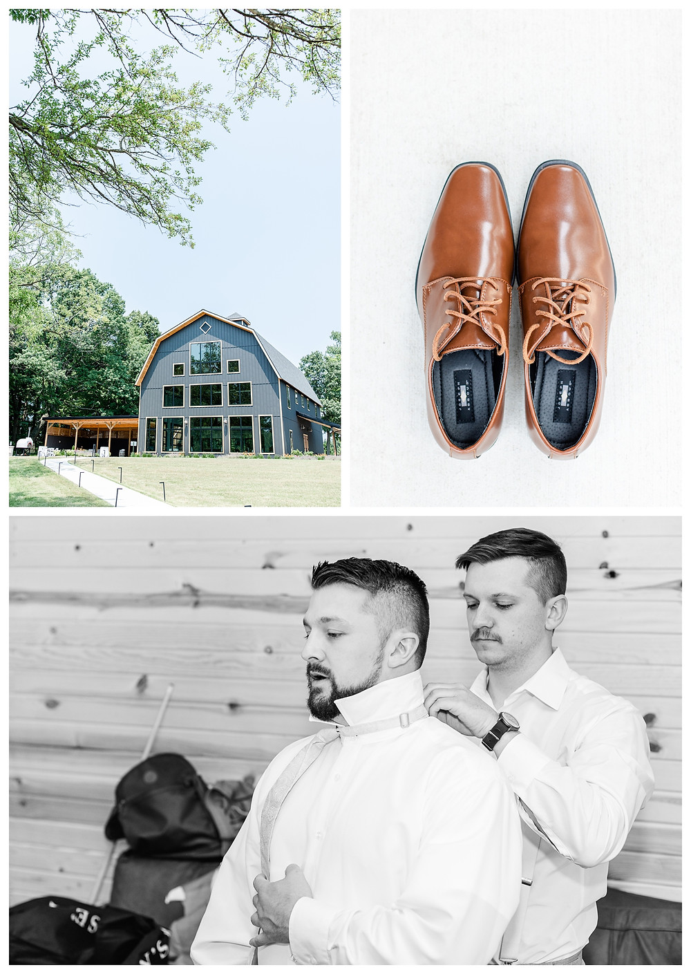 Josh and Andrea light airy joyful style wedding photography husband and wife photographer team michigan pictures photo shoot poses spring bride and groom White Oak Farm Venue groomsmen shoes