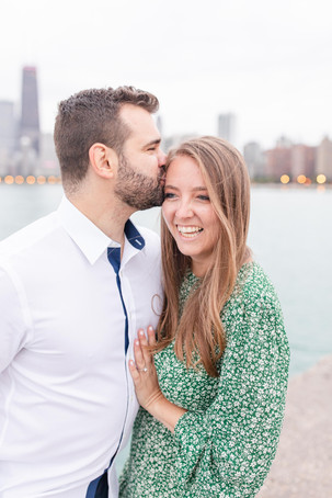 Josh and Andrea Photography Cute couple Chicago kissing smiling