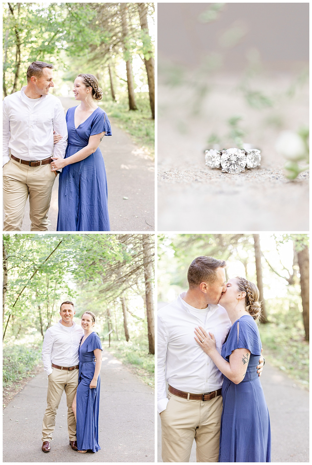 Josh and Andrea wedding photography husband and wife photographer team michigan pictures south haven engagement pictures session fields and woods photo shoot fiance walking ring shot kissing