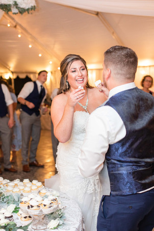 Bride and groom cute couple eating cake wedding American 1 event center Jackson michigan