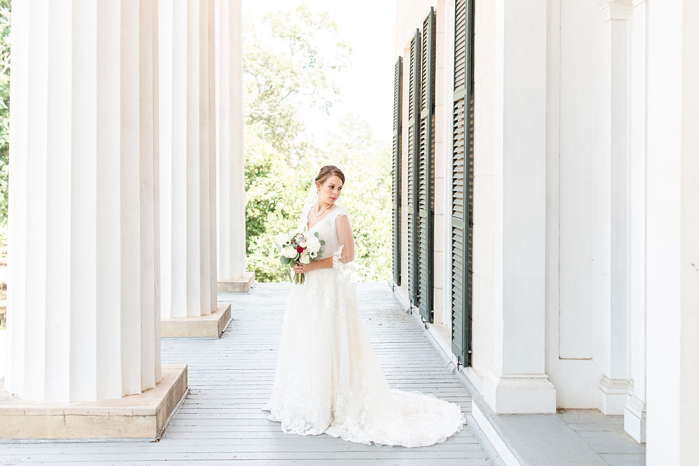 Bride standing at Rose Hill Antebellum Lockerly Arboretum Milledgeville Georgia Wedding