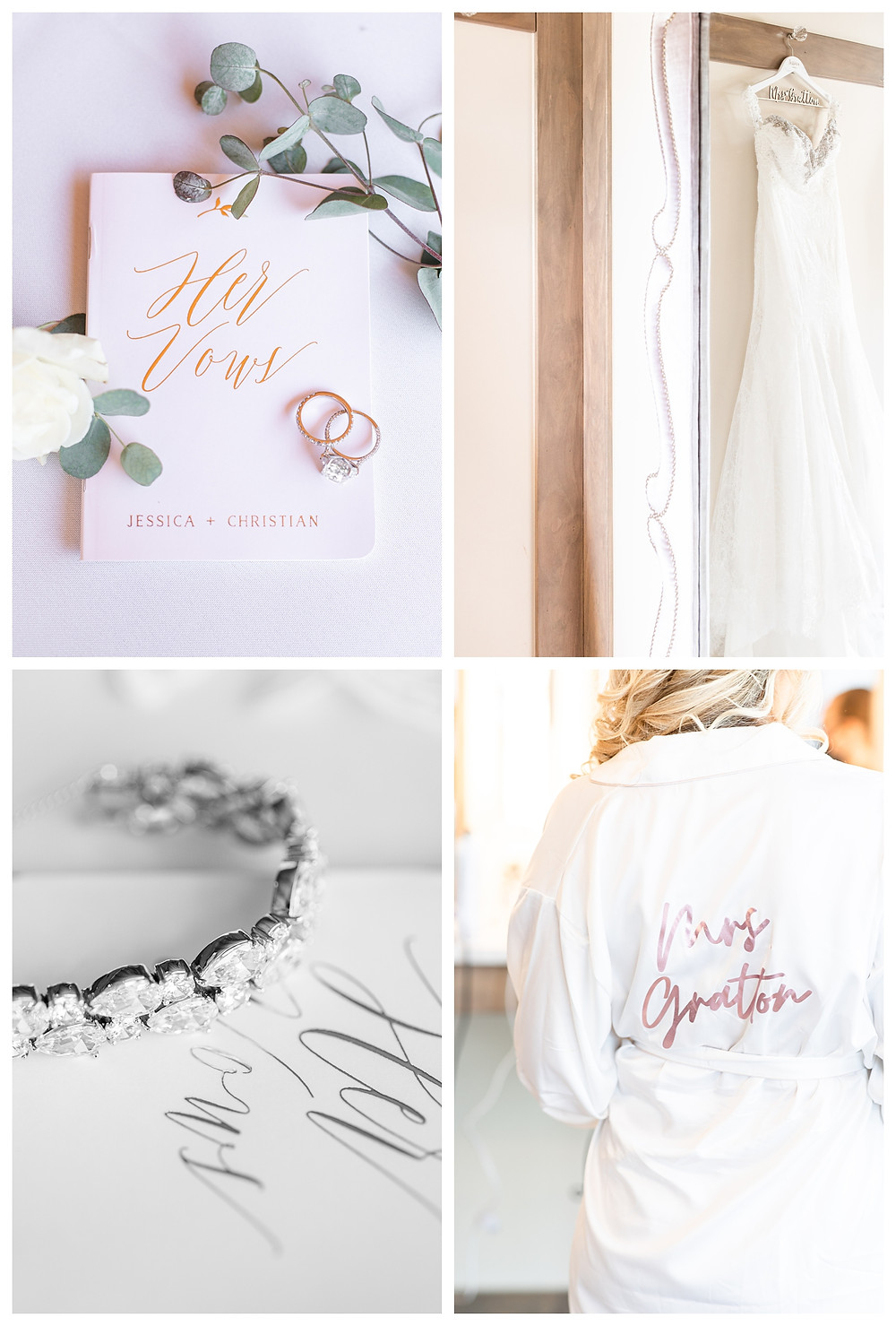 Josh and Andrea wedding photography husband and wife photographer team michigan south haven pictures Black River Barn luxury elegant wedding venue spring bride and groom vow dress bracelet robe