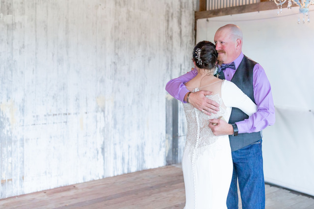 bride and father hidden vineyard wedding barn Justin Alexander