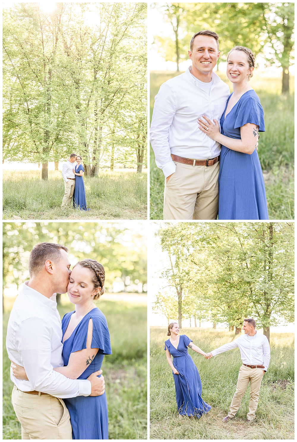 Josh and Andrea wedding photography husband and wife photographer team michigan pictures south haven engagement pictures session fields and woods photo shoot fiance kissing laughing standing