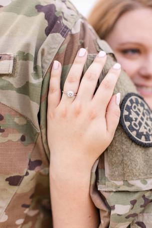 Engagement photos Round Barn Winery Baroda Michigan army uniform engagement ring hand