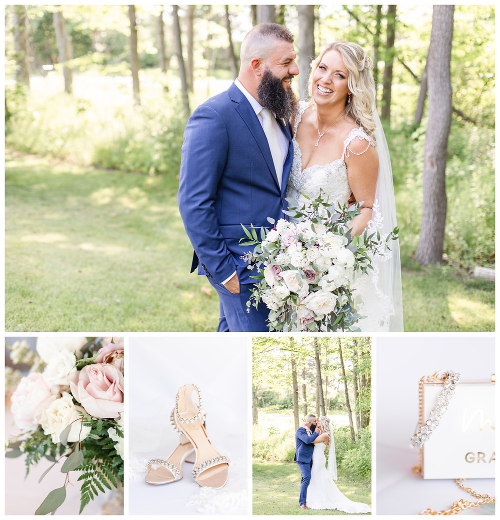 Josh and Andrea wedding photography husband and wife photographer team michigan south haven pictures Black River Barn luxury elegant wedding venue spring bride and groom laughing shoes kissing flowers