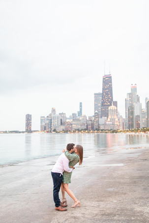 Josh and Andrea Photography Cute couple Chicago standing kissing