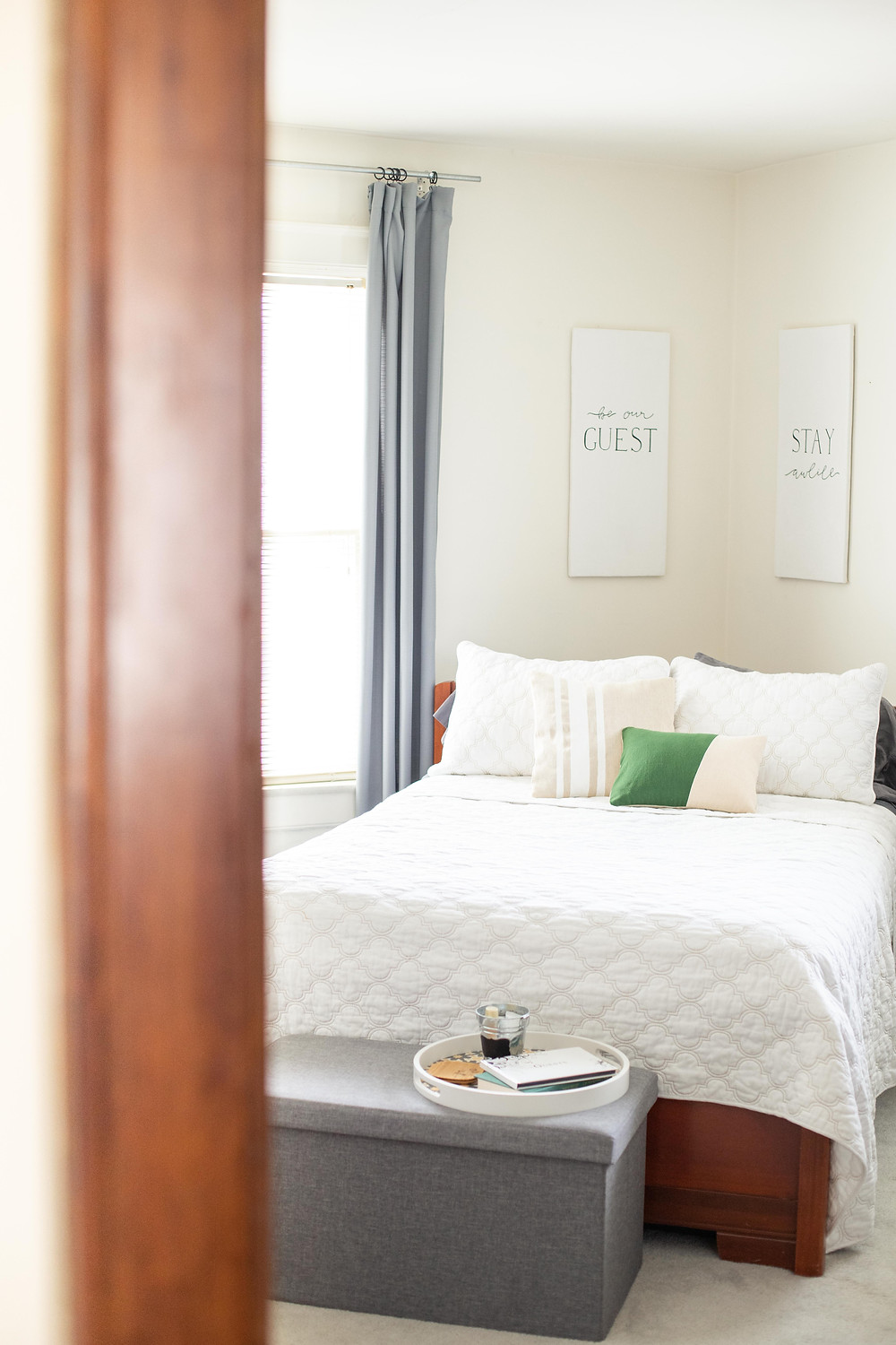 Home bedroom decorations with brown and green accents and leaves