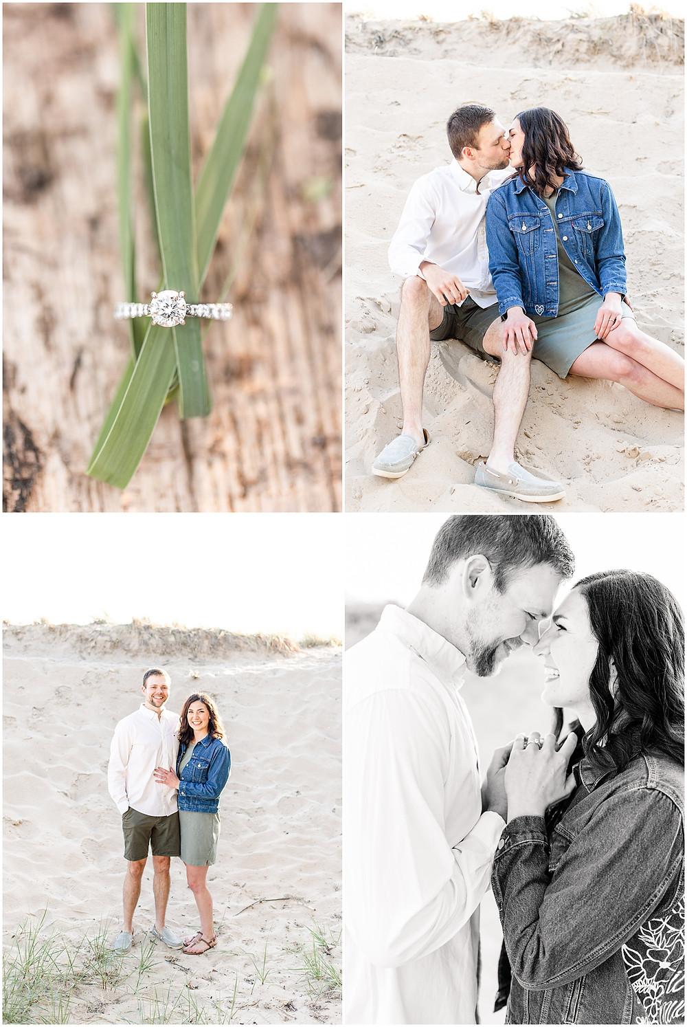 Josh and Andrea wedding photography husband and wife photographer team michigan pictures Lake Harbor Park engagement pictures session photo shoot fiance ring shot kissing standing