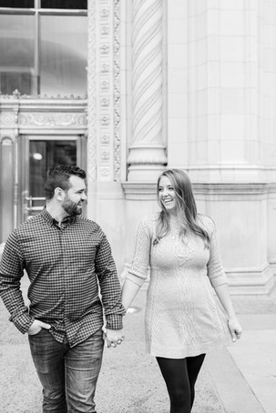 Josh and Andrea Photography Cute couple Chicago smiling laughing walking