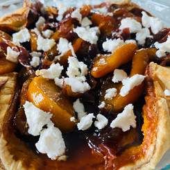 Pumpkin Prosciutto with Goat Cheese and Peaches