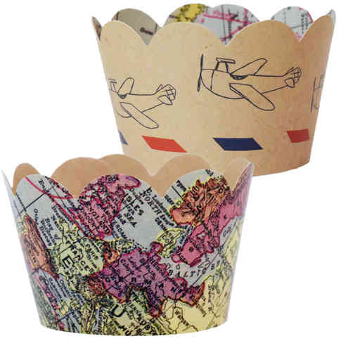Travel Map Cupcake Wrappers