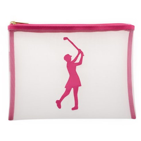 LOLO White Flat Stanley Mesh Case with Pink Lady Golfer