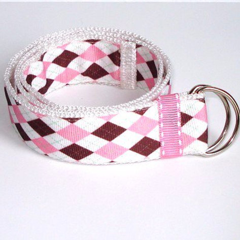 Pink & Brown Argyle Belt